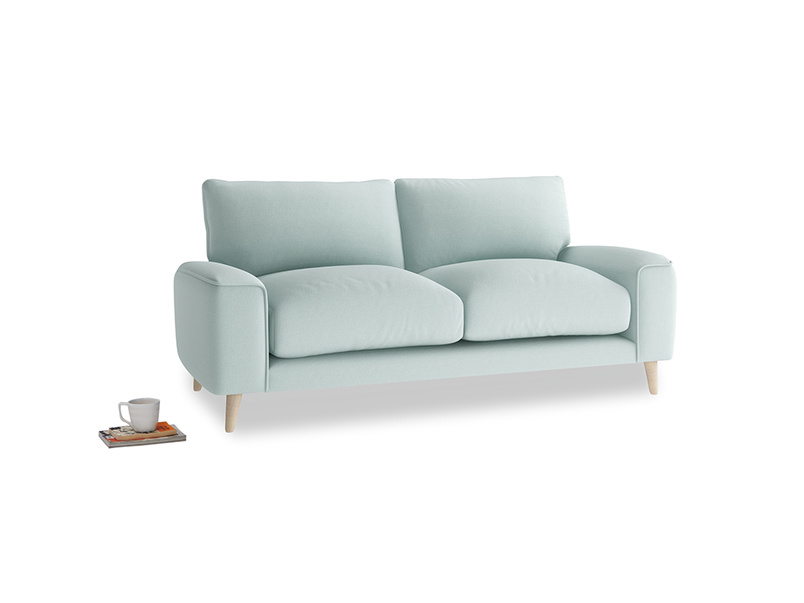 Small Strudel Sofa in Gull's Egg Brushed Cotton