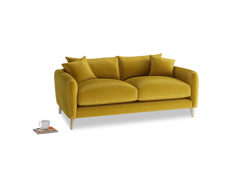 Small Squishmeister Sofa in Burnt yellow vintage velvet