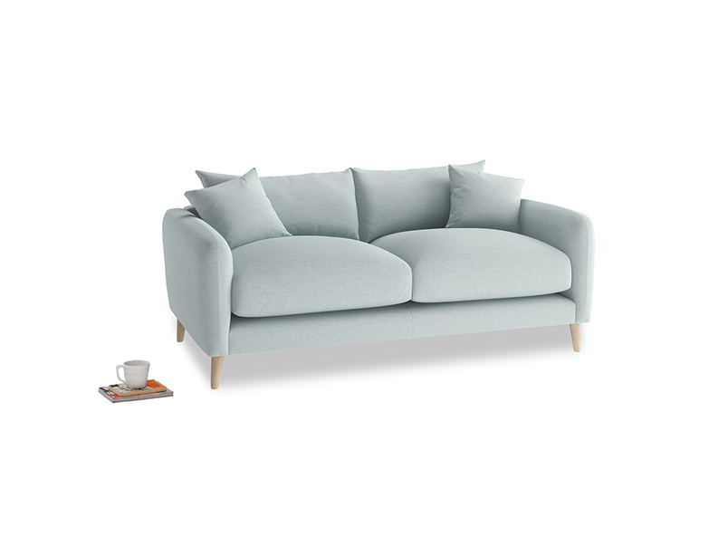 Small Squishmeister Sofa in Duck Egg vintage linen