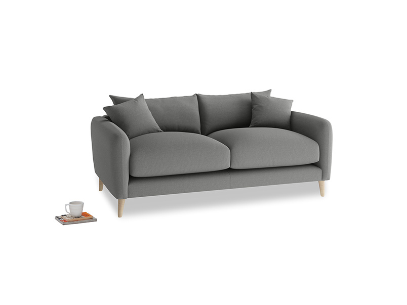 Small Squishmeister Sofa in French Grey brushed cotton