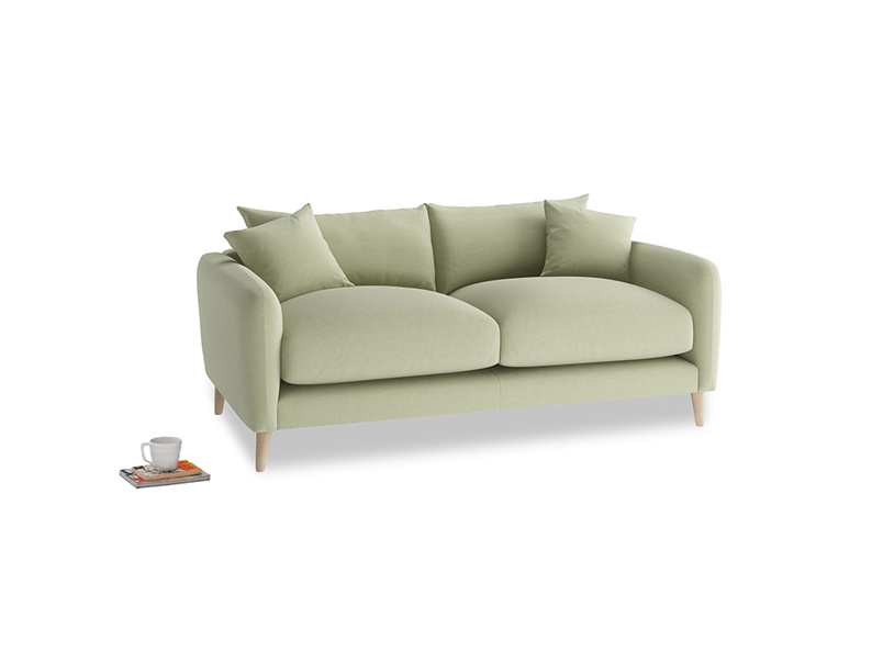 Small Squishmeister Sofa in Old sage washed cotton linen