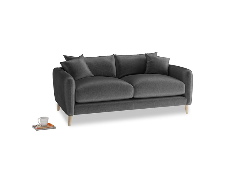 Small Squishmeister Sofa in Scuttle grey vintage velvet