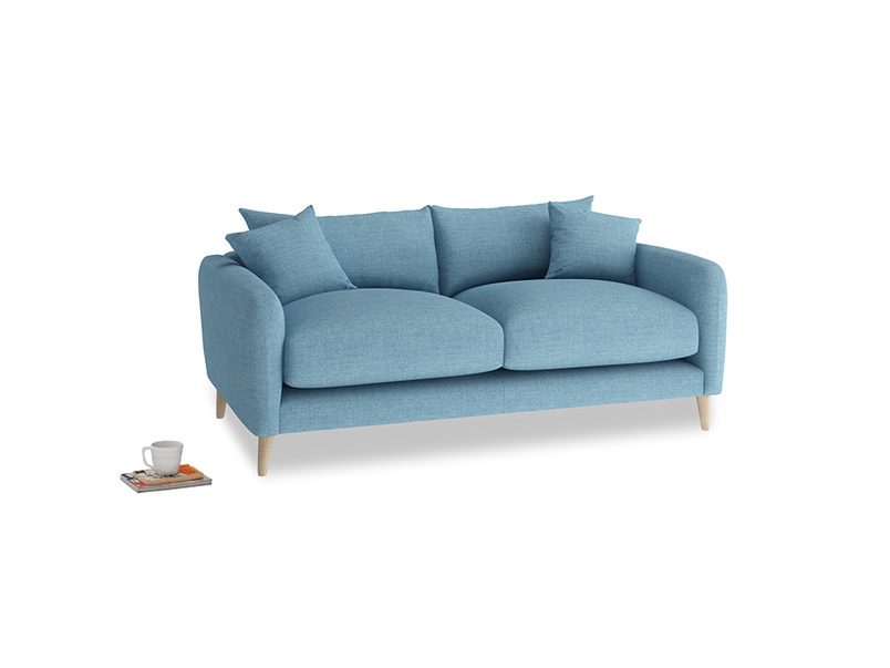 Small Squishmeister Sofa in Moroccan blue clever woolly fabric