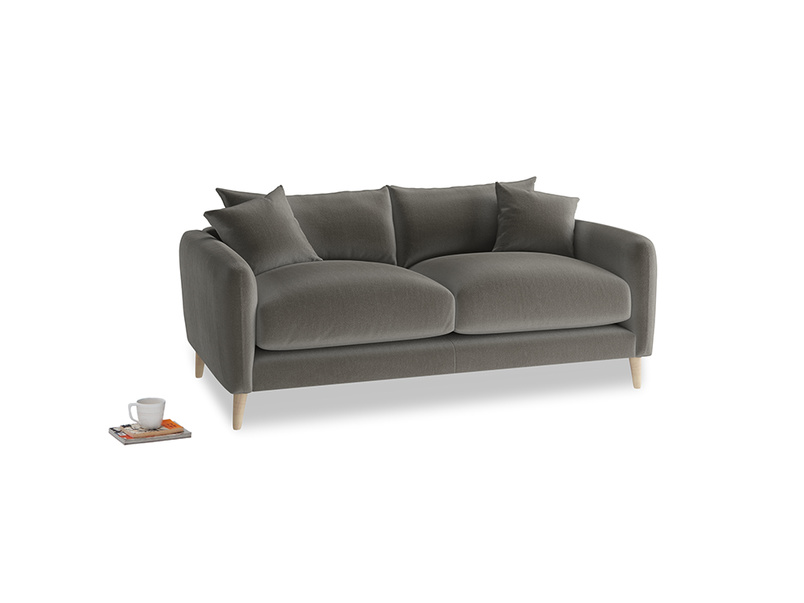 Small Squishmeister Sofa in Slate clever velvet