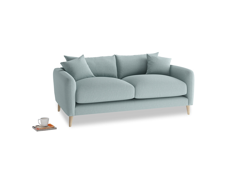 Small Squishmeister Sofa in Smoke blue brushed cotton