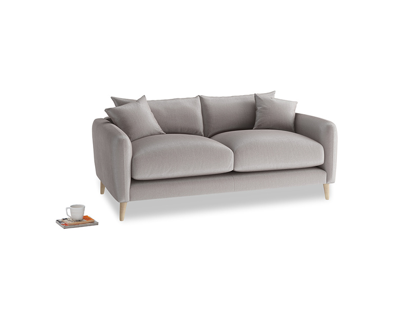 Small Squishmeister Sofa in Soothing grey vintage velvet