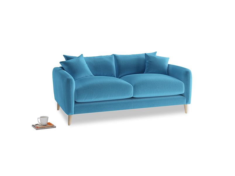 Small Squishmeister Sofa in Teal Blue plush velvet