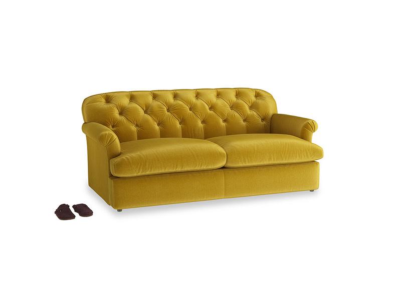 Large Truffle Sofa Bed in Burnt yellow vintage velvet