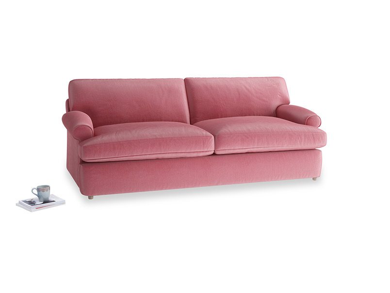 Large Slowcoach Sofa Bed in Blushed pink vintage velvet