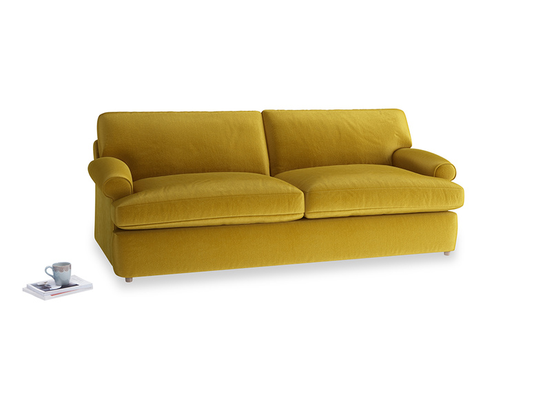 Large Slowcoach Sofa Bed in Burnt yellow vintage velvet