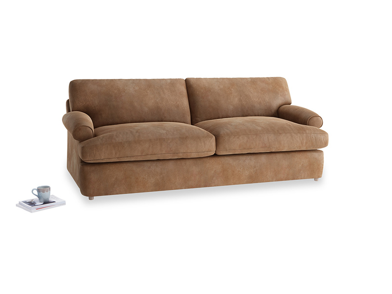 Large Slowcoach Sofa Bed in Walnut beaten leather