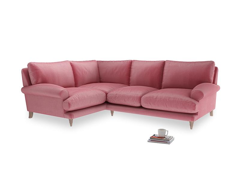 Large Left Hand Slowcoach Corner Sofa in Blushed pink vintage velvet