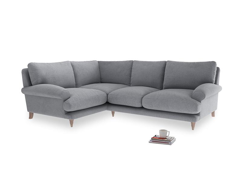 Large Left Hand Slowcoach Corner Sofa in Dove grey wool