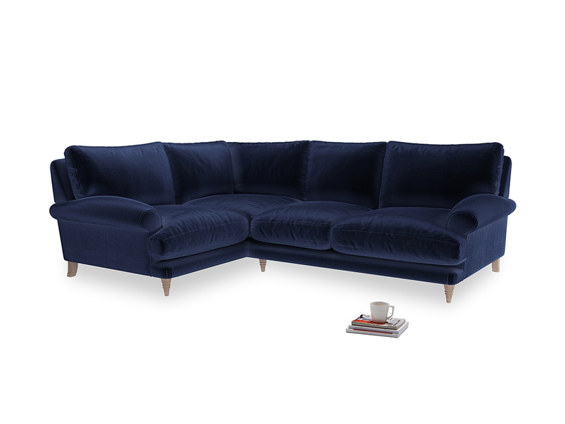 Large Left Hand Slowcoach Corner Sofa in Midnight plush velvet