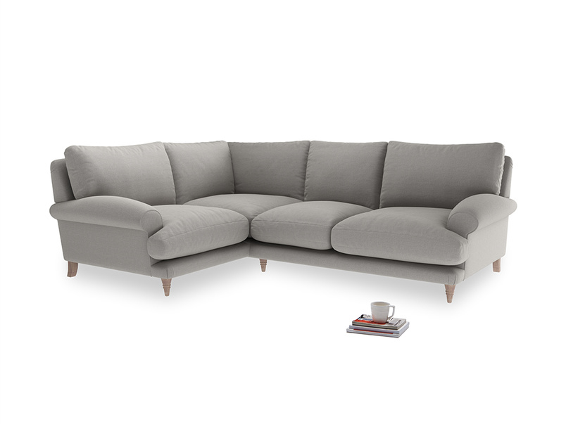 Large Left Hand Slowcoach Corner Sofa in Wolf brushed cotton