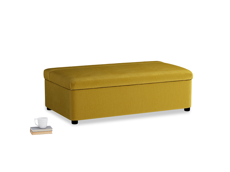 Double Bed in a Bun in Burnt yellow vintage velvet