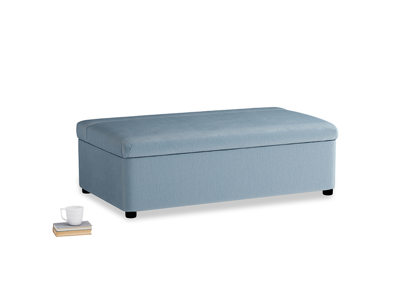 Double Bed in a Bun in Chalky blue vintage velvet