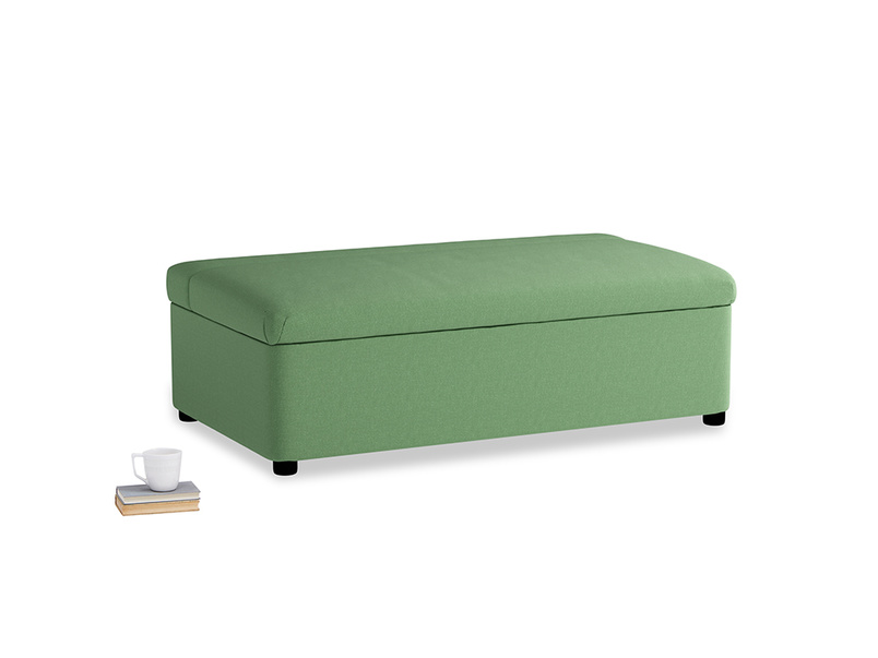 Double Bed in a Bun in Clean green Brushed Cotton
