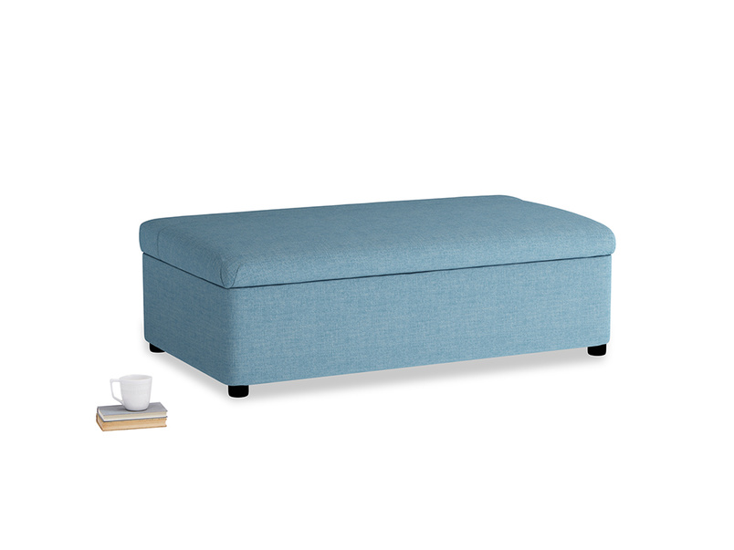 Double Bed in a Bun in Moroccan blue clever woolly fabric