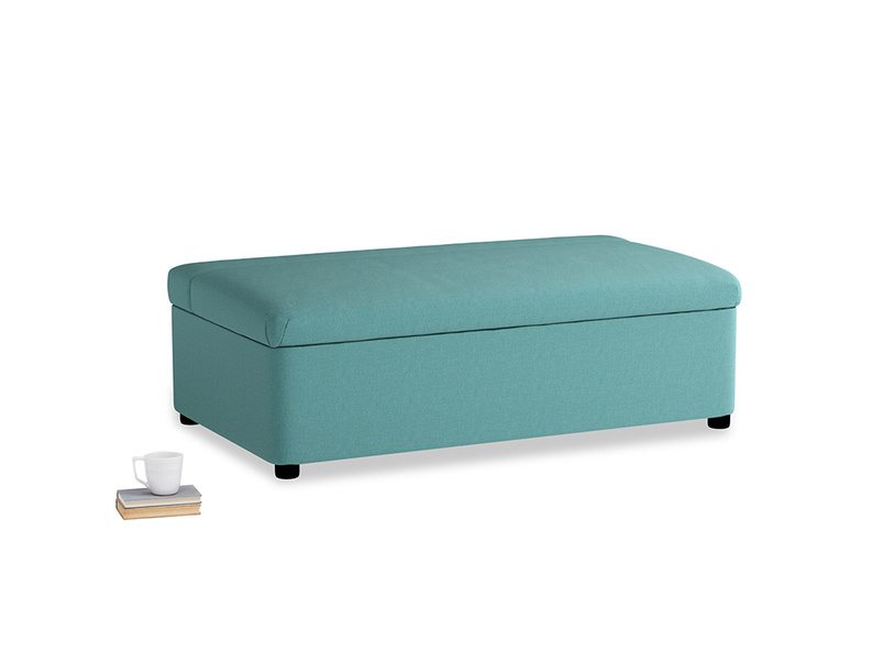 Double Bed in a Bun in Peacock brushed cotton