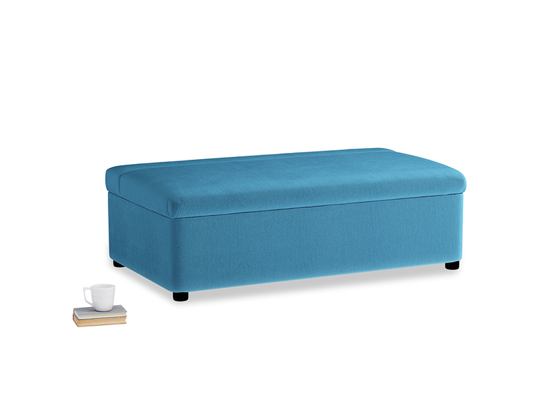 Double Bed in a Bun in Teal Blue plush velvet