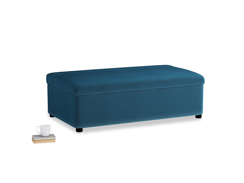 Double Bed in a Bun in Twilight blue Clever Deep Velvet