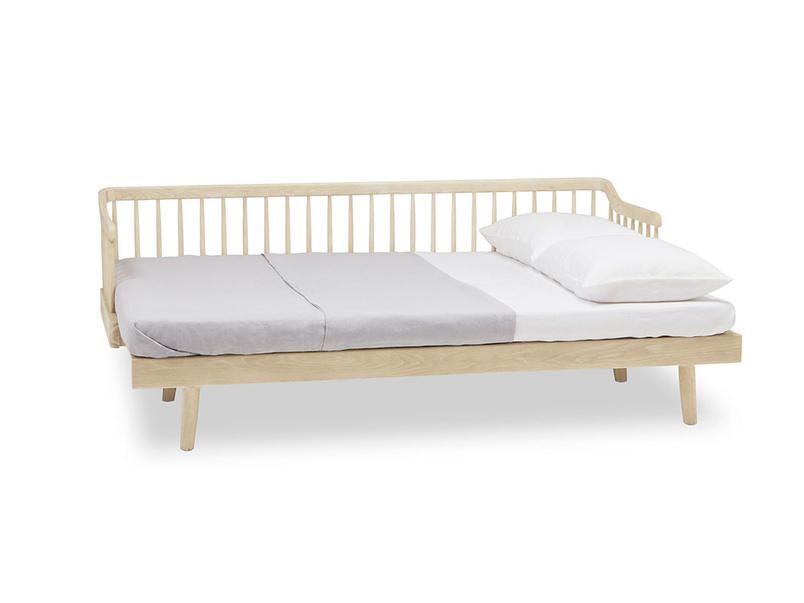 Kipster solid oak wooden sofa bed open