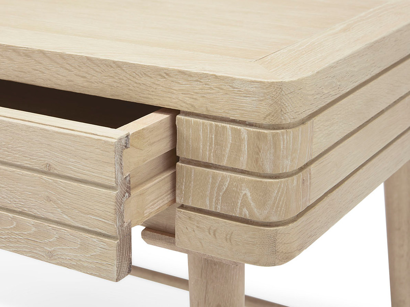 Clever Bubba blonde oak writing desk drawer detail