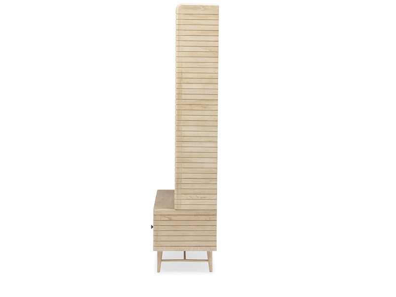 Big Bubba wooden blonde oak shelves side detail