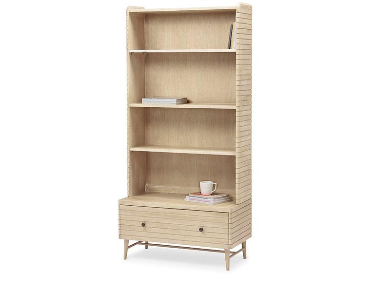 Big Bubba modular shelves in blonde oak wood