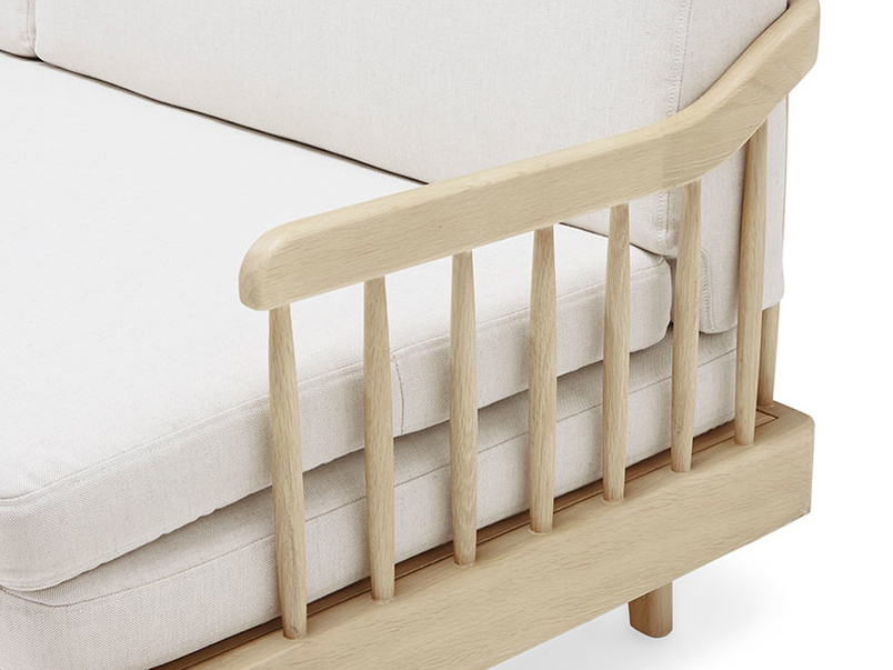 Kipster solid oak upholstered sofa bed corner detail