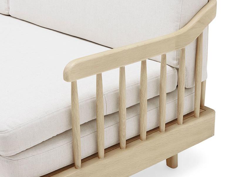 Kipster solid oak upholstered daybed corner detail