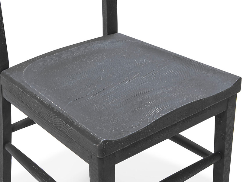 Idler kitchen chair in wood Charcoal finish seat detail