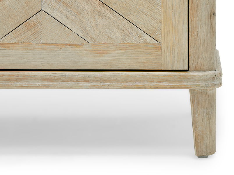 Grand Fandangle oak parquet wood sideboard leg detail