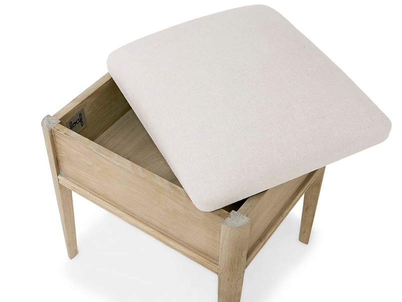 Lippy oak dressing table stool with storage