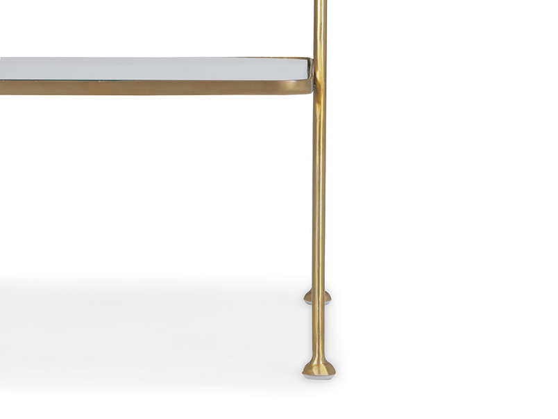 Scala brass and glass antique style bedside table leg detail