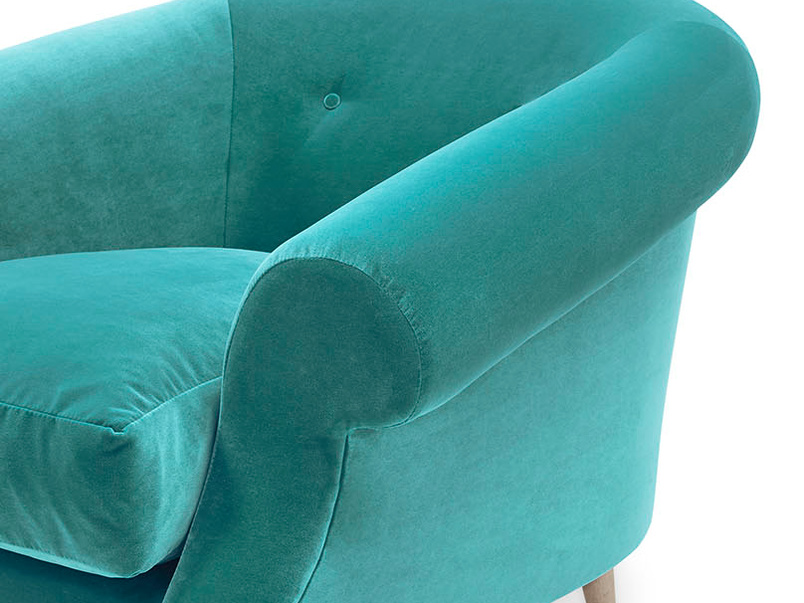 Schnaps tub upholstered love seat arm detail