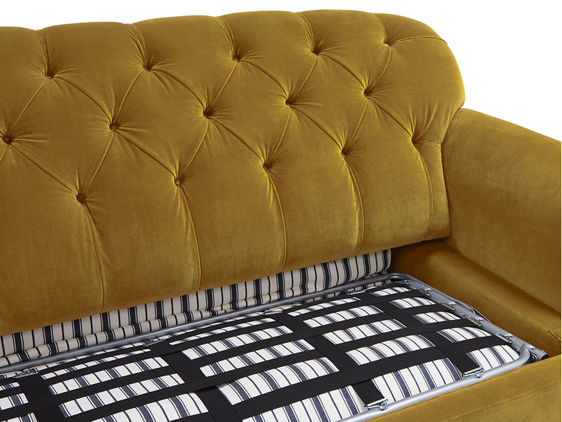 Truffle upholstered sofa bed inside detail
