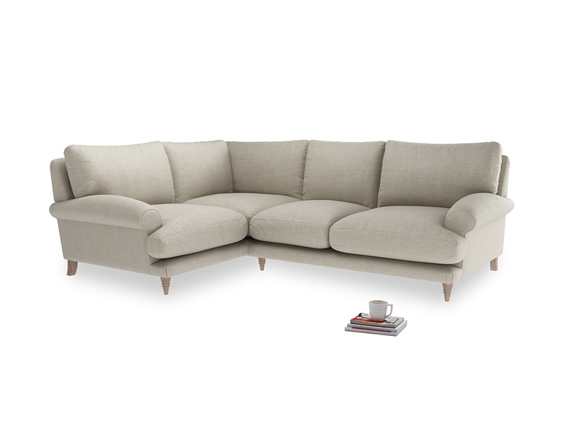 Large Left Hand Slowcoach Corner Sofa in Thatch house fabric