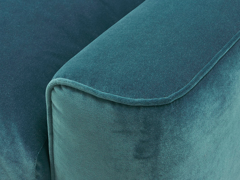 Strudel upholstered love seat arm detail