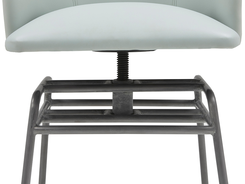 Milkshake adjustable retro leather dining chair in Duck Egg blue