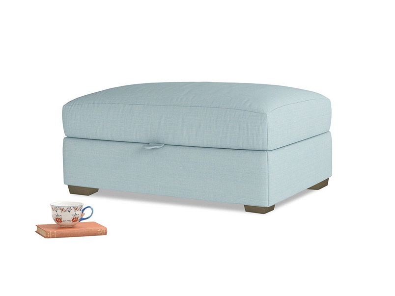 Bumper Storage Footstool in Powder Blue Clever Softie