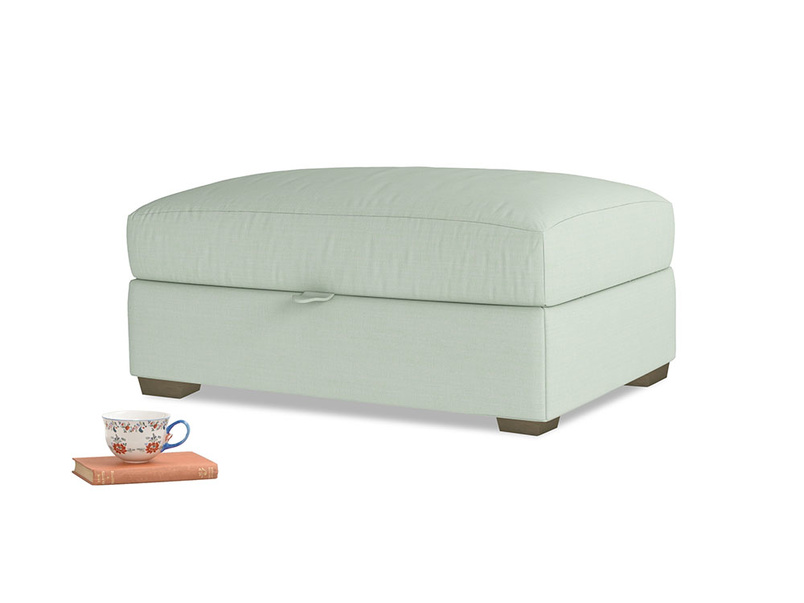 Bumper Storage Footstool in Soft Green Clever Softie