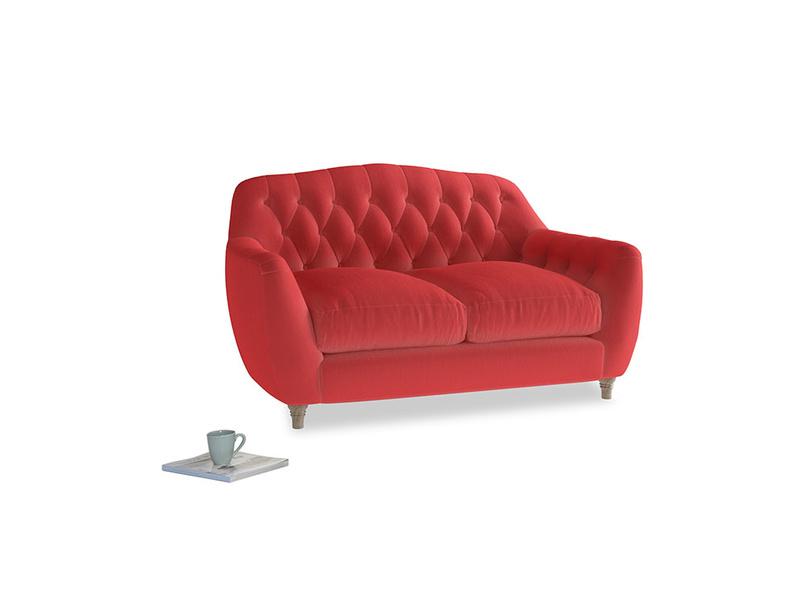 Small Butterbump Sofa in True Red Plush Velvet