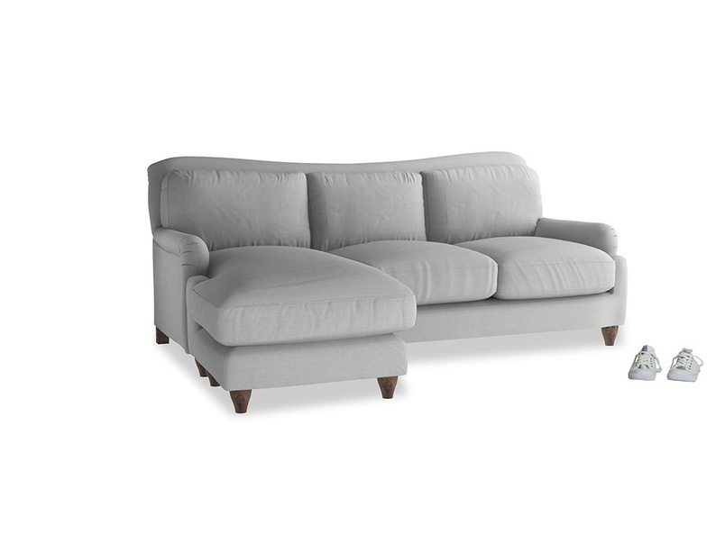 Large left hand Pavlova Chaise Sofa in Pewter Clever Softie
