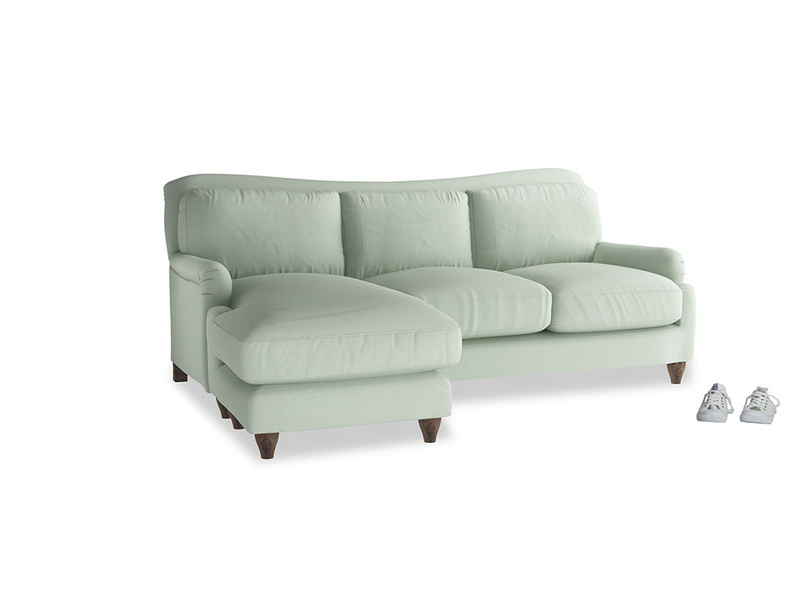Large left hand Pavlova Chaise Sofa in Soft Green Clever Softie