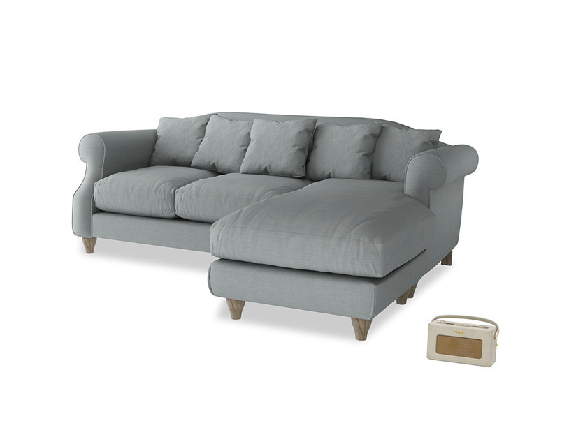 Large right hand Sloucher Chaise Sofa in Armadillo Clever Softie