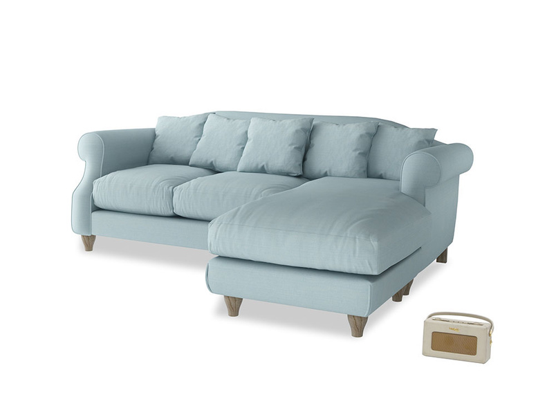 Large right hand Sloucher Chaise Sofa in Powder Blue Clever Softie