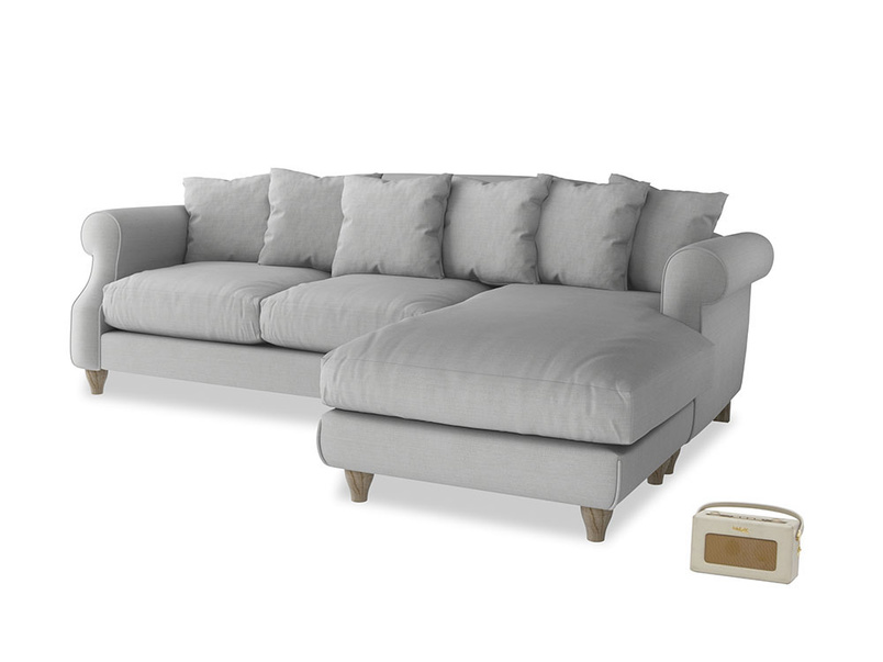 XL Right Hand  Sloucher Chaise Sofa in Pewter Clever Softie