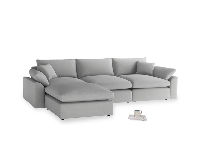 Large left hand Cuddlemuffin Modular Chaise Sofa in Pewter Clever Softie